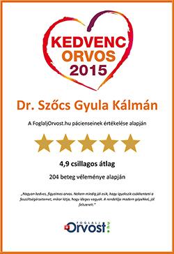 Dr Szőcs Gyula 2015 egyik kedvenc orvosa