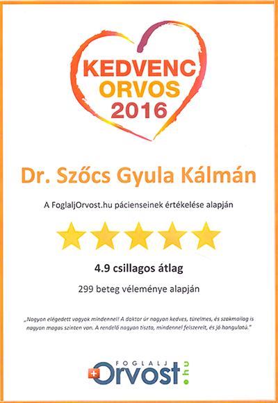 Dr Szőcs Gyula 2016 egyik kedvenc orvosa