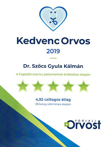 Dr Szőcs Gyula 2019 egyik kedvenc orvosa