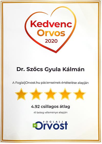 Dr Szőcs Gyula 2020 egyik kedvenc orvosa